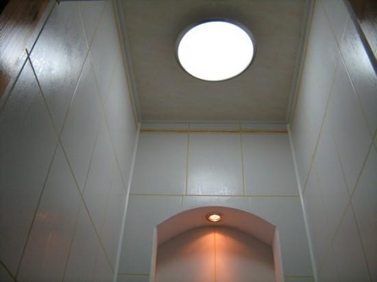 Фото дизайна потолка в туалете