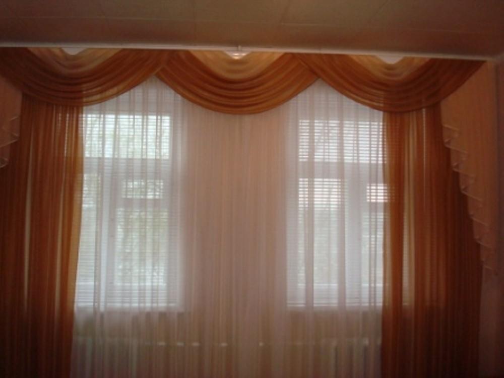 Шторы на два окна фото