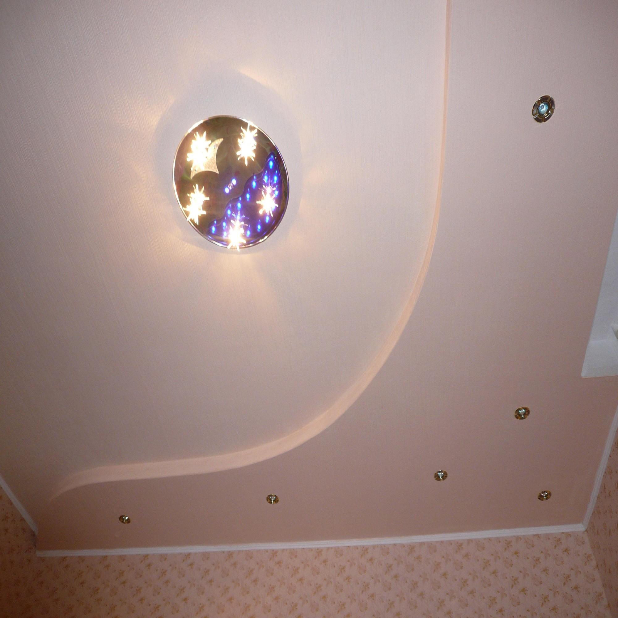 Дизайн потолков в комнате из гипсокартона
