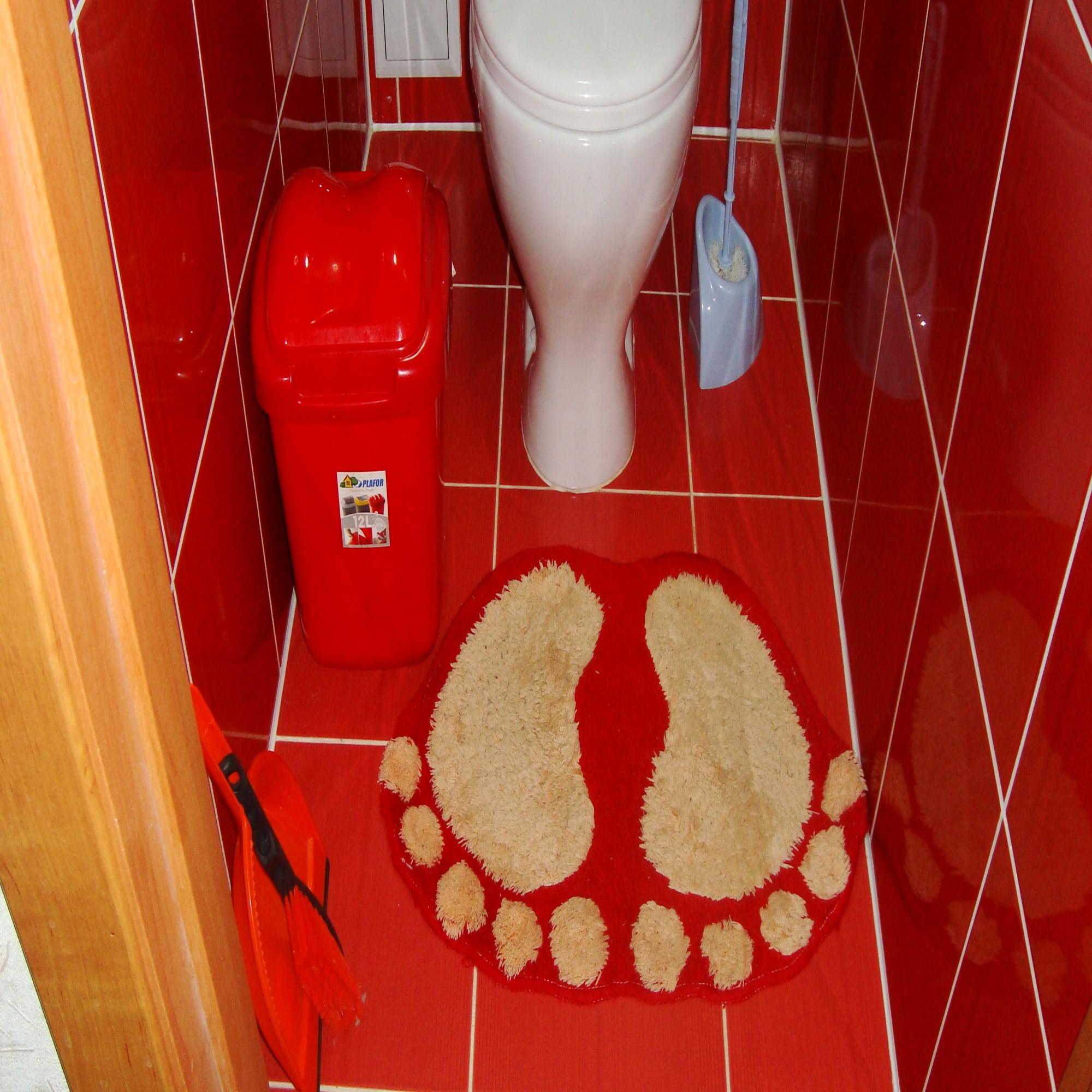 Дизайн туалет с красным унитазом