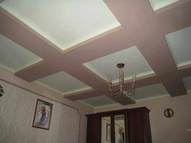 Дизайн потолка из гипсокартона с балками фото