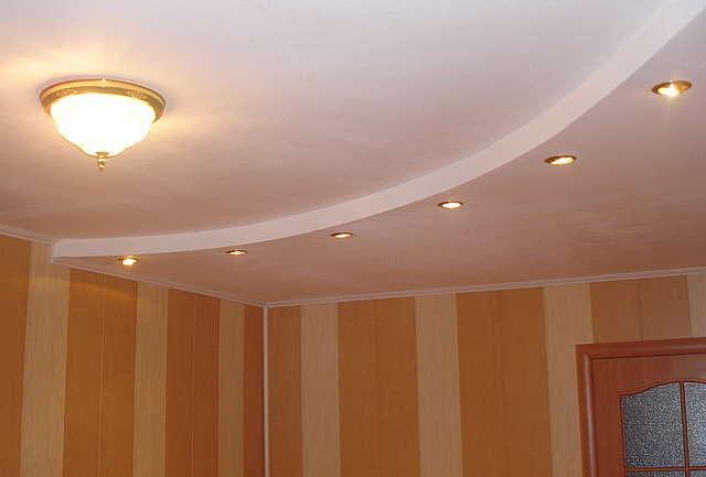 Двухуровневые потолки из гипсокартона фото своими руками