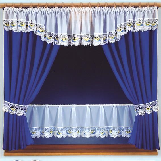 Модные кухонные шторы из синей и оливковой вуали.