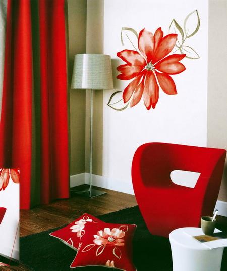 Цветы красные с белым дизайн