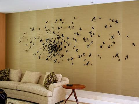 Бабочки из бумаги на стену - Самодельные.