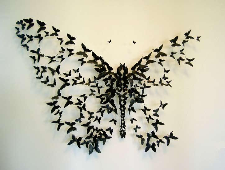 Декор стен из бабочек
