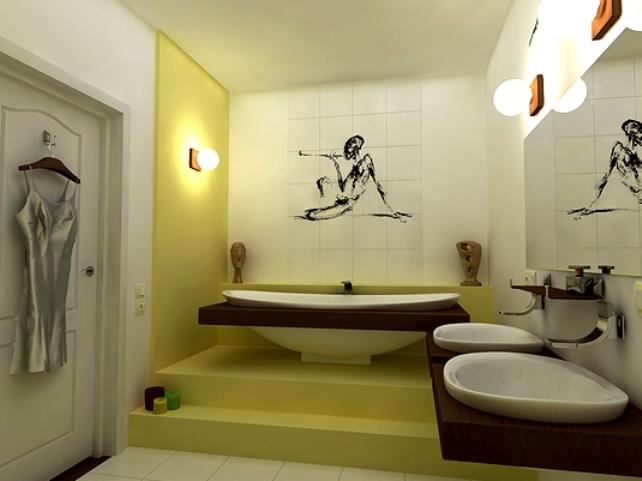 Артистический дизайн ванной комнаты.