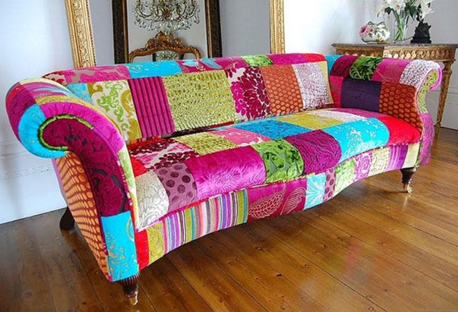 Мебель для гостиной в стиле пэчворк - феерия цвета.
