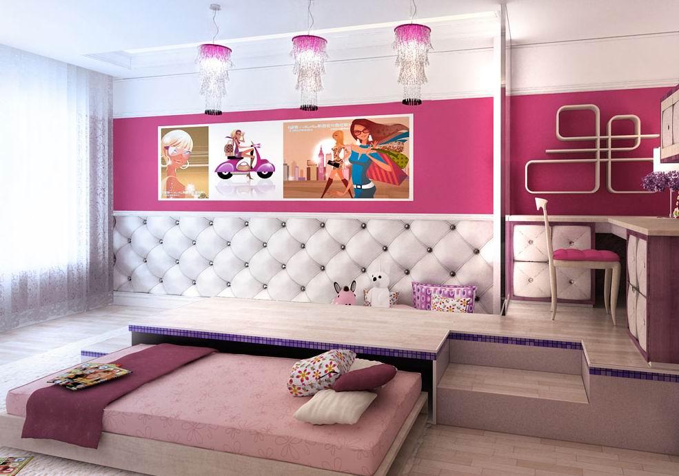 Кровать–подиум в интерьере.