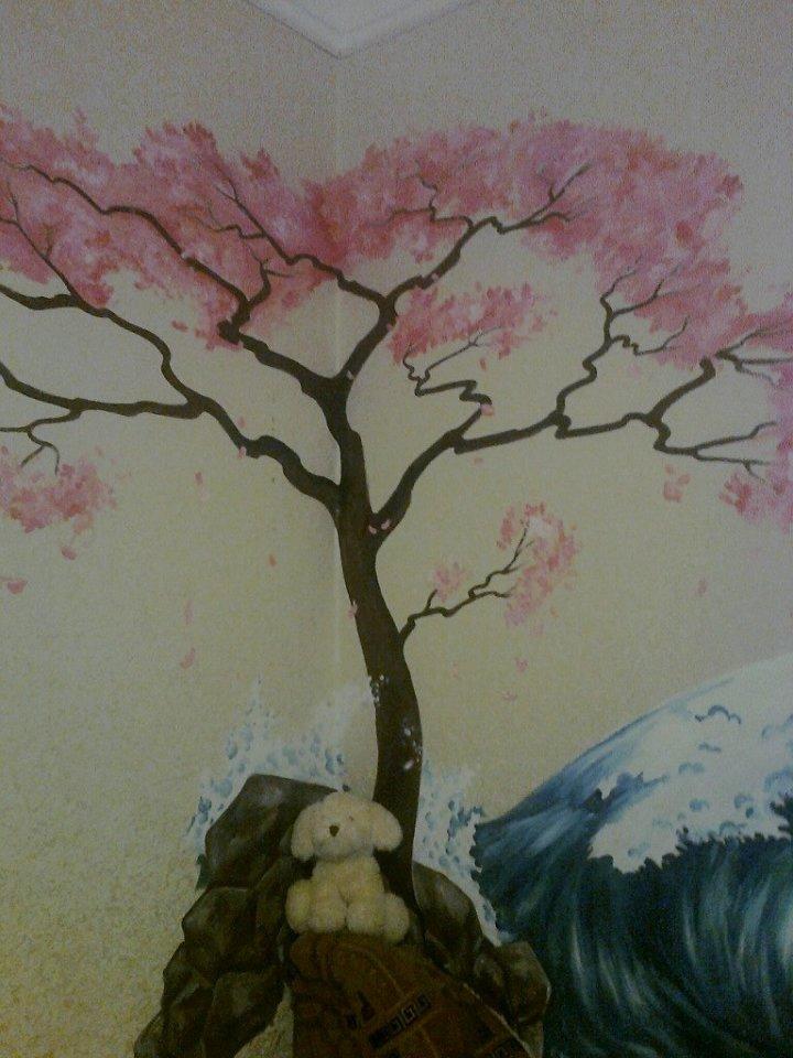 Дерево сакуры на стене своими руками как нарисовать 64