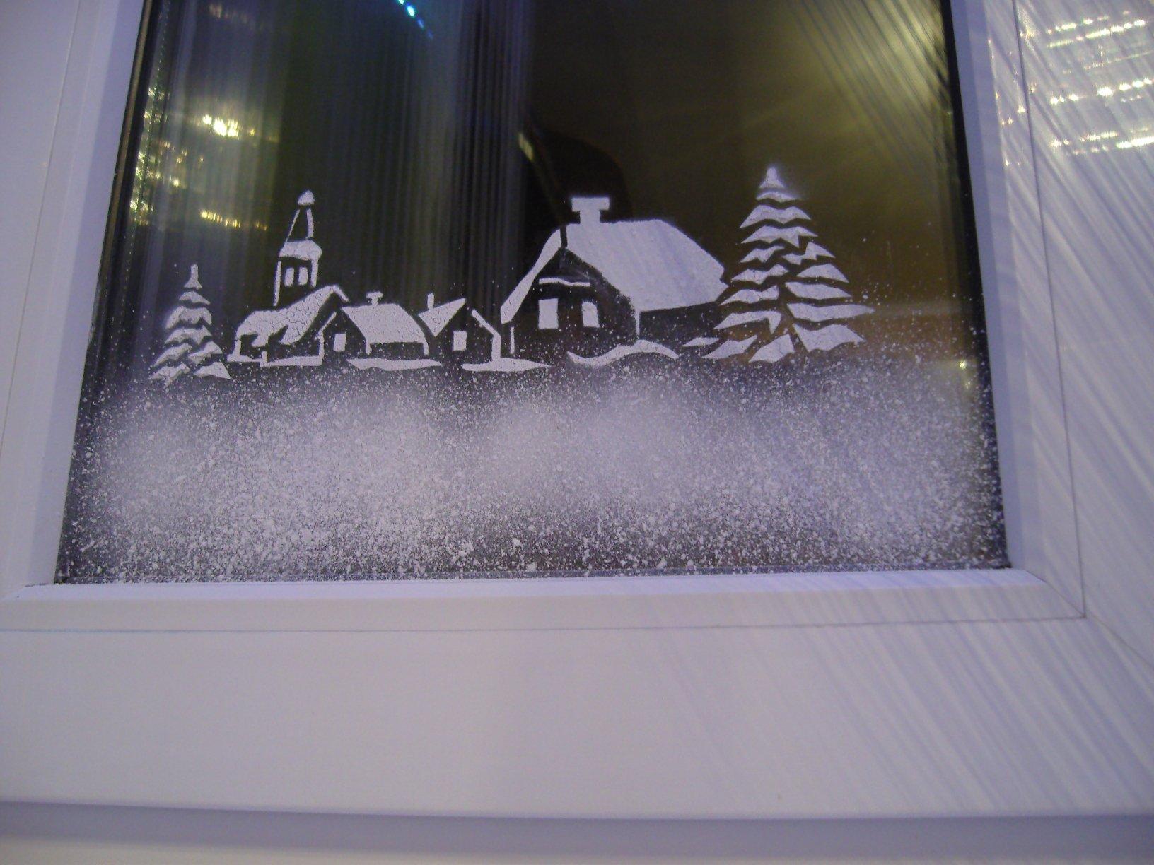 Снег на окнах  как сделать 88